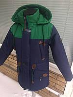 Парка весенняя для мальчика подростка (36-46 размер) темно-синий с зелёным