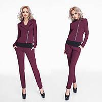 Приталенный женский костюм брюки+пиджак на поясе