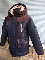 Зимняя парка на овчине для мальчика подростка (36-46 рр)(канада) графит с коричневым