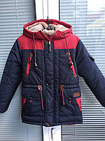 Зимняя парка на овчине для мальчика подростка (36-46 рр)(канада) графит с красным