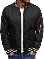 Стильная куртка - бомбер, черный, весна