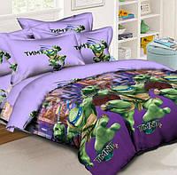 Подростковое полуторное постельное белье с простыней на резинке 90*200*25 (1наволочка), Леонардо, ранфорс
