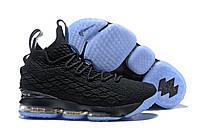 Баскетбольные кроссовки Найк Lebron 15 Black/Light Blue Реплика