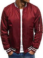 Стильная куртка - бомбер, красный, весна