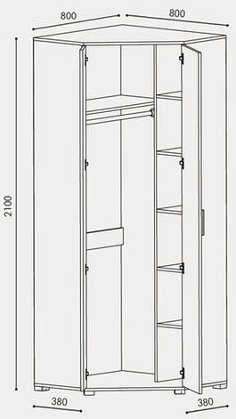 Шкаф распашной угловой Бриз ШКУ-14, фото 2