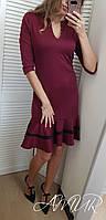 Платье женское весна-осень 224 (цвет бордо) (размеры 42/44 44/46) СП