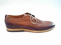Польские мужские кожаные туфли коричневые Basso 1330