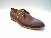 Кожаные польские мужские стильные коричневые туфли Basso 1330
