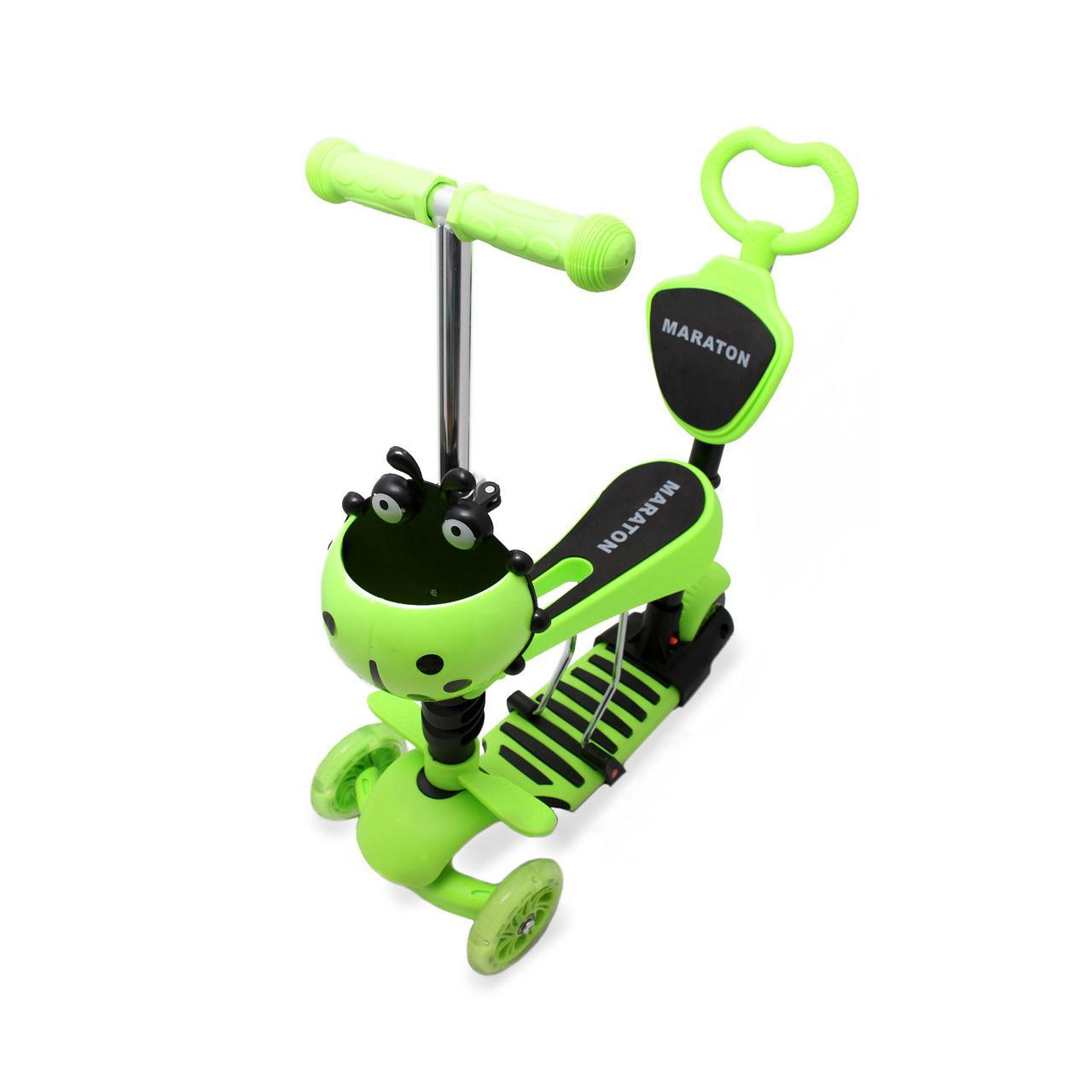 Самокат детский Scooter Божья коровка 5 in 1 родительская ручка Зеленый (2T1075)