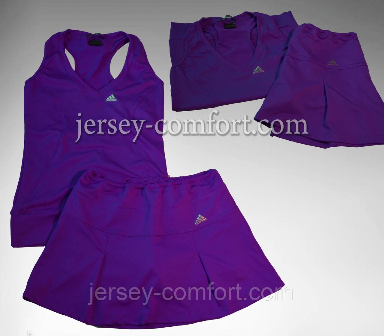 Юбка-шорты и майка. Комплект из эластана. Цвет- фиолет. Мод. 4013. Разные цвета.