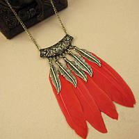 Красивое женское ожерелье на шею Перья индейцев!, фото 1