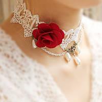 Красивое женское ожерелье на шею с розой из ткани!, фото 1