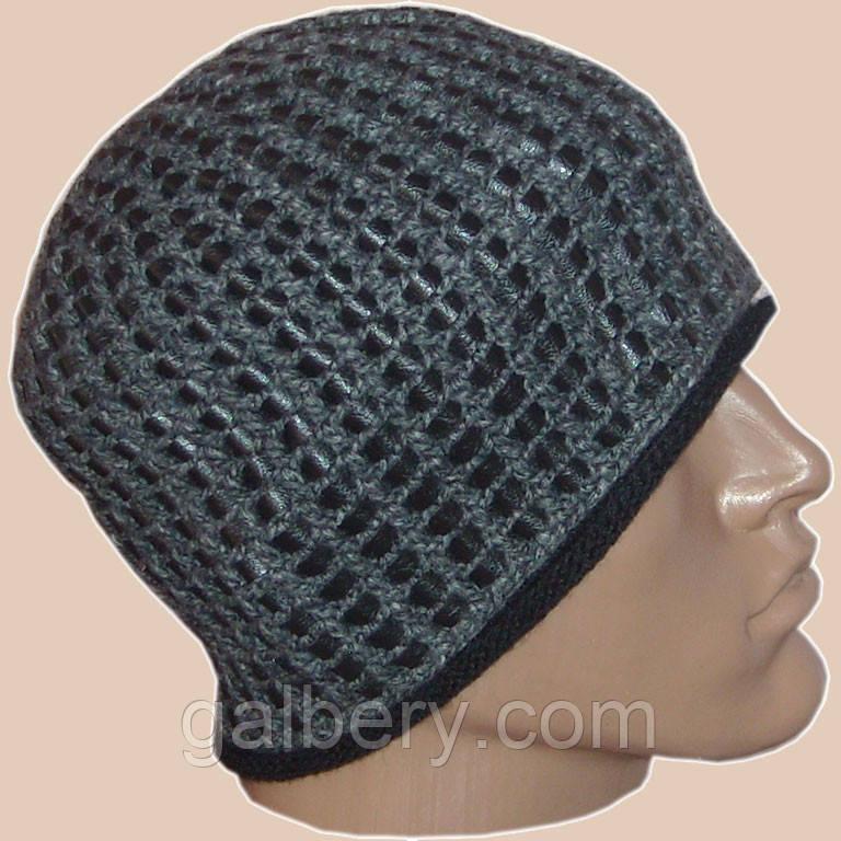 Мужская вязаная шапка на подкладке с бортиком c элементами кожи цвета маренго
