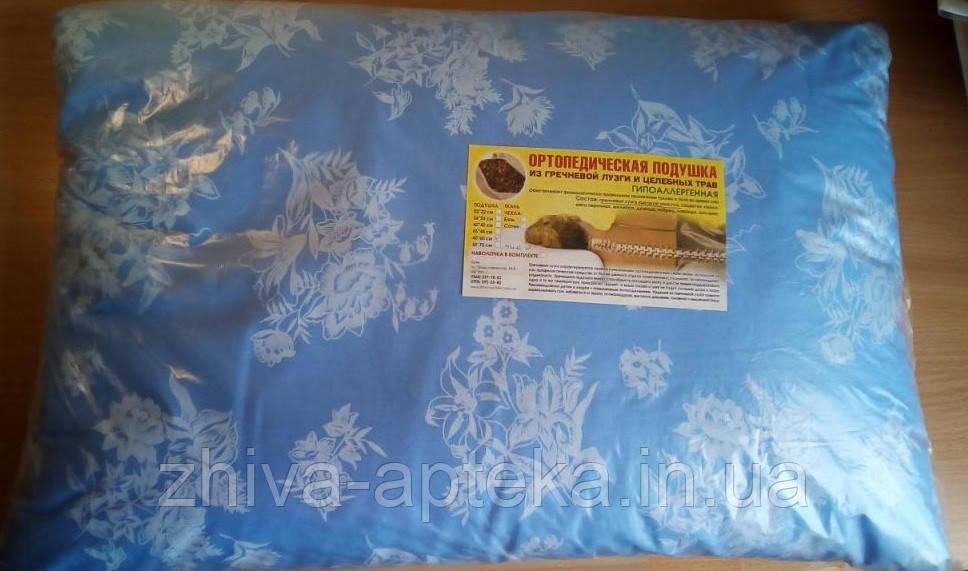 Ортопедическая подушка из гречневой лузги 40х60 (тик) с молнией
