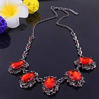Красивое женское ожерелье на шею с большими красными камнями!, фото 1