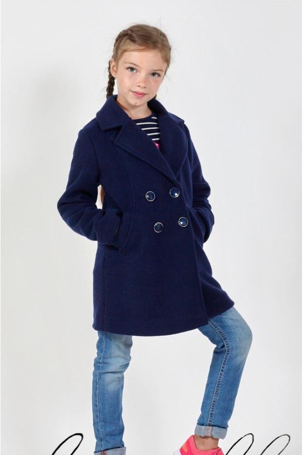 Пальто демисезонное кашемировое двубортное девочке, остались размер 128