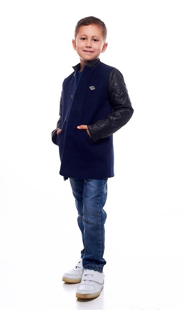 Детское пальто демисезонное кашемировое с рукавами из экокожи для мальчика, 122-146