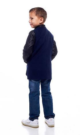 Детское пальто демисезонное кашемировое с рукавами из экокожи для мальчика, 122-146, фото 2