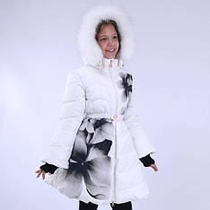 Детское зимнее пальто для девочки юбка-клеш от  BIKO&KANA 16558, 134-158