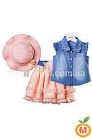 Комплект для девочки: юбка, блуза и шляпка