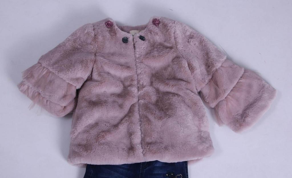 Детская демисезонная куртка для девочки плюшевая, в виде шубки