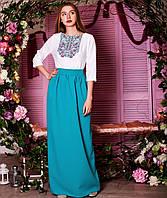 Вишите плаття Бойківське - бірюза (габардин), фото 1