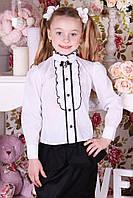 Блуза школьная для девочки, брошь в подарок, 122-152 (хлопок)