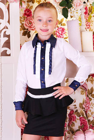 Блуза школьная для девочки в-22, 116р., фото 2
