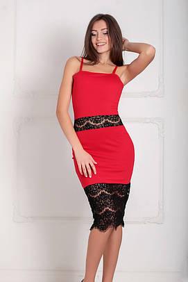 Витончене коктельне червоне плаття з гіпюром Sabrina (XS-XXL)