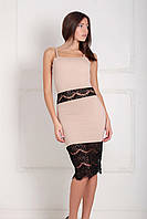(XS-XXL) Витончене коктельне бежеве плаття з гіпюром Sabrina L b7ca0dffd577f