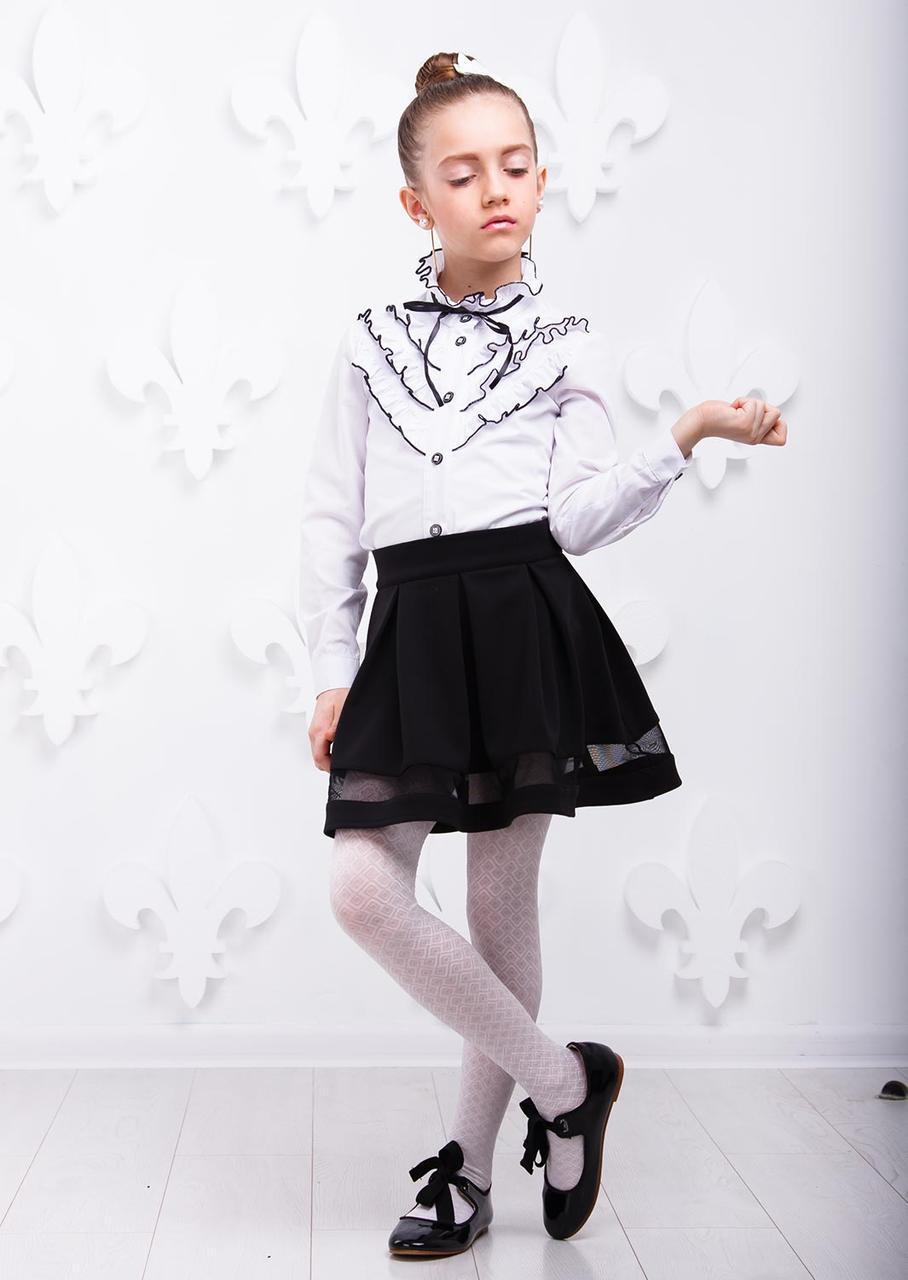 Рубашка школьная для девочки номер 5  с отделкой ,110-140