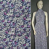 Хлопковая ткань светло фиолетовый с белыми цветами ш.150
