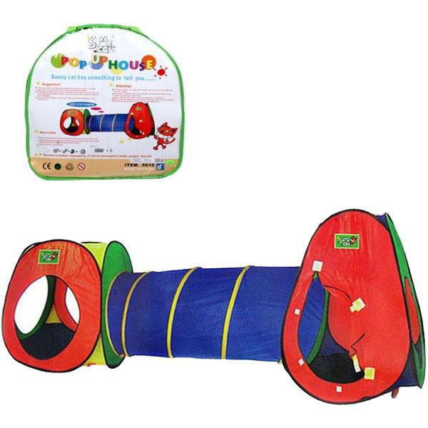 Детская игровая палатка с туннелем 5015. Размер палатки: 270 х 75 х 98  см.