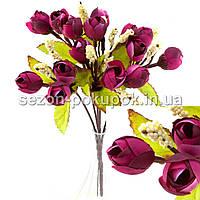 Букет ранункулюса (14-15 цветочков) Цвет - Марсала (корич.ножка)