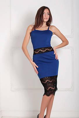 Витончене коктельне синє плаття з гіпюром Sabrina (XS-XXL)