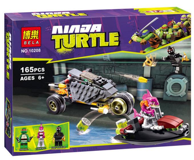 """Конструктор Bela 10208 Черепашки Ниндзя (Ninja Turtles) """"Хитрый план преследования"""", 165 дет"""
