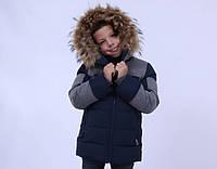 Куртка зимняя  для мальчика от ANERNUO с натуральным мехом, от 130 по 170