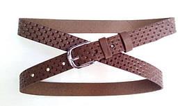 Кожаный женский ремень 25 мм коричневый пряжка серебряная овальная