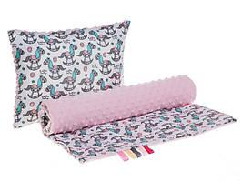 Комплект в детскую коляску BabySoon Лошадки одеяло 75 х 78 см подушка 30 х 40 см розовый