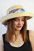 Шляпа Мадейра бежево-голубой