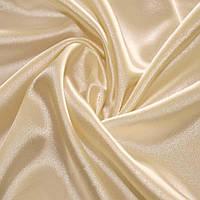 Атласная ткань атлас стрейч стрейчевая шамус однотон. кремовый