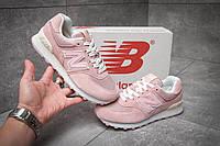 Стильные женские кроссовки New Balance 574, розовые, замша