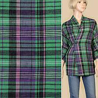 165307492 - Ткань рубашечная зеленая в черно-фиолетовую клетку ш.145