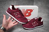 Стильные женские кроссовки New Balance 574, бордовые, замша