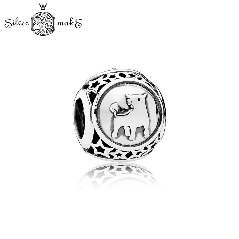 Серебряная бусина шарм пандора Знак зодиака Телец