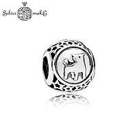 Серебряная бусина шарм пандора Знак зодиака Телец, фото 1