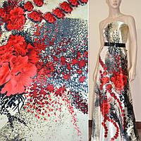 Атласная ткань стрейч кремовая с красными цветами в центре атлас