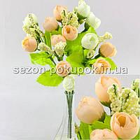 Букет ранункулюса (14-15 цветочков) Цвет - Кремово-молочный(зел.ножка)