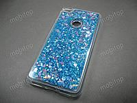 Силиконовый чехол с блестками Huawei P8 Lite 2017 (синий), фото 1