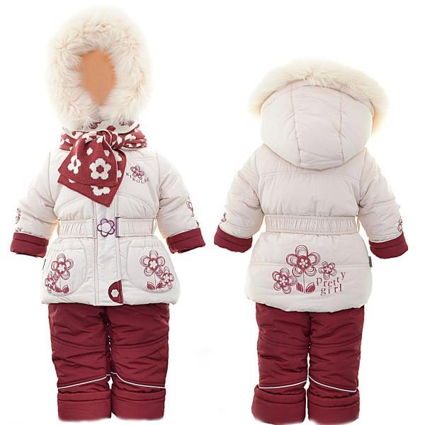 Детский зимний комплект для девочки Кико  3727 с шарфиком, 80, 86, 92